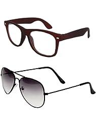 Sheomy Unisex Combo Pack Of Transparent Brown Wayfarer Sunglasses And Half Black Aviator Sunglasses For Men And...