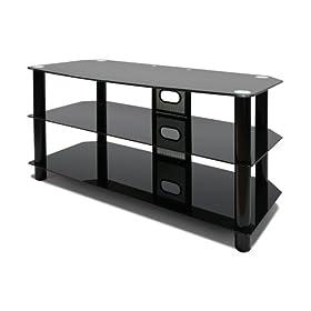 Avista Harmoni I Flat Panel 47-inch TV Console with Glass Shelves, Black