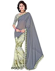 Alethia Grey Weight Less Casual Wear Printed Sarees With Unstitched Blouse