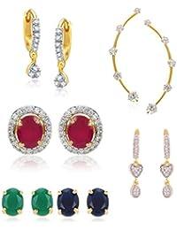 Zeneme Combo Gold Plated Earrings, Interchangeable Earring & Earcuff Jewellery For Women And Girls
