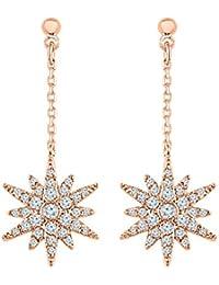 Graykart Rose Gold Plated American Diamond Zicrons Copper Earrings For Women