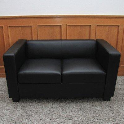 2er Sofa Couch Loungesofa Lille ~ Leder, schwarz