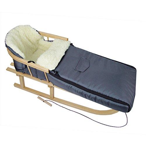 Babys-Dreams *KOMBIPAKET* Holzschlitten mit Rückenlehne + Zugleine + Winterfusssack 108cm GRAUDUNKEL aus Lammwolle für Kinderwagen - WOLLE - Lehne -Kinderschlitten - Schlitten aus Holz Kinderschlitten NEU