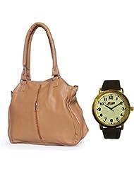 HnH Women HandBag + Watch Combo - Contemporary Beige Handbag + Antique Golden Watch - AHB1CB-AW9AG