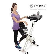 FitDesk FDX 2.0 Desk Exercise Bike with Massage Bar White