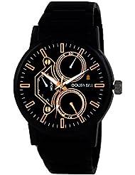 Golden Bell Original Chronograph Look Black Dial Black Steel Wrist Watch For Men