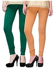 2Day Women's Cotton Churidaar Legging Bottle Green/ Skin (Pack Of 2)