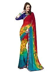 Inddus Exclusive Women Fashionable Multicolored Georgette Printed Saree - B00R98DZUS