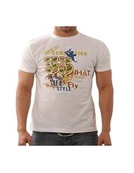 Funktees Men's Round Neck Cotton T-Shirt White Large
