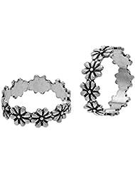 Gandhi Jewellers Sterling Silver Pair Of Beautiful Flower Toe Rings Pair. Toe Rings For Women.Floral Toe Rings.