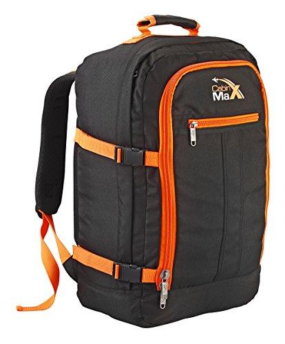 Cabin Max Metz Gris - Sac à dos et bagage à mains pour cabine léger et certifié conforme - 44L 55 x 40 x 20 cm (Noir/Orange)
