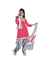 Pink Cotton Patiala Unstitched Suit With Black And White Dupatta