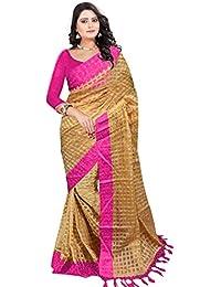 Saree(Devpriya Fashion Women Pink Cotton Silk Saree)