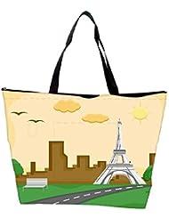 Snoogg France Eiffel Tower Cartoon Background Vector Waterproof Bag Made Of High Strength Nylon