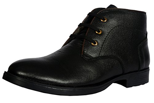KingsToy Men's Black Leather Boots