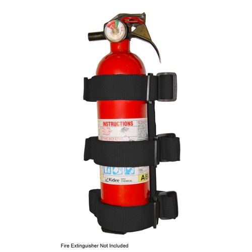 Rugged Ridge 13305.21 Black Roll Bar Fire Extinguisher Holder for All 3″ Jeep Roll Bar