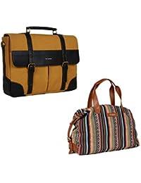 The Maker Combo Of Unisex Black Briefcase With Women's Multicoloured Kilburn Duffle Bag