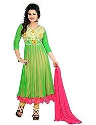 Rajnandini Women's Softnet Stitched Salwar Suit Set ( Green _Free Size)