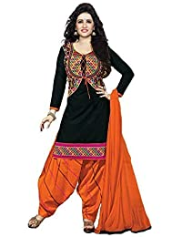 Dresses Material For Women Party Wear Printed Crepe Cotton Fabric Unstiched Orange Color In Low Price (Chanderi_Orange_Salwar...
