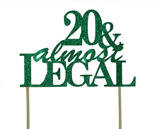 All About Details CAT20AL Green 20 Almost Legal Cake Topper