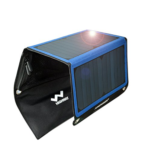 Solar Charger,PowerGreen 21W Portable Solar Panel with 2 USB Ports for all 5V Mobile Devices (Blue)