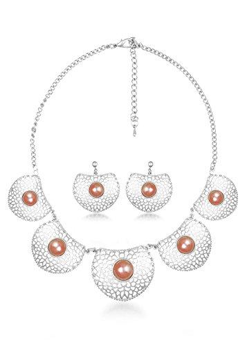BIG Tree Orange Antique Silver Circular Necklace Set For Women.