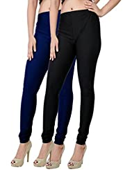 Fashion And Freedom Women's Pack Of 2 Black And Navy Satin Leggings