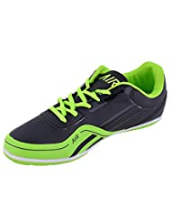 99 Moves Men's Faux Fancy Sports Shoes Black And Fluorescent Green Sports Shoes