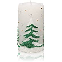 Christmas Tree Moving Flame LED Candle With Timer, 3 X 6