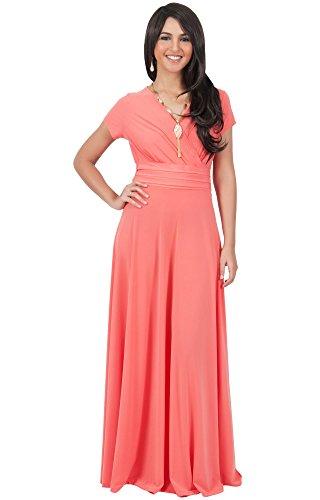 Koh Koh Women's Elegant Cap Sleeve Chest Crossover Cocktail Long Maxi Dress - XX-Large - Peach