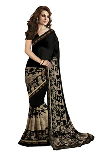 d0b63146a0a826 Jaanvi Fashion Women's Designer Georgette Black Printed Saree Best ...