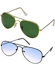 Younky Unisex Combo Pack Of Aviator Sunglasses For Men And Women ( Black-Shd-blue-Golden-Green ) (CM-NEW-AV-039 )