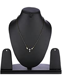 YouBella American Diamond Gold Plated Mangalsutra Pendant With Chain And Earrings For Women - B01GTG97M0