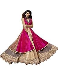 Sancom Women Georgette Lace Salwar Suit Sets (Sesfsk267021A _Pink & Beige _Free Size)