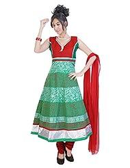 Divinee Green Cotton Readymade Anarkali Suit - B0136DL97U