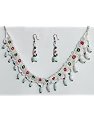 White With Green And Red Bead Necklace And Earrings - Beads