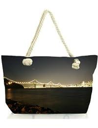 Snoogg Colrful Lights At Sealings Women Anchor Messenger Handbag Shoulder Bag Lady Tote Beach Bags Blue