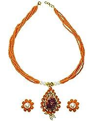 Abhika Studio Leaf Shaped Orange Bead Necklace Set For Women (AKSD319)