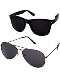 ZIUM Black Wayfarer & Aviator COMBO Sunglasses For Men OR Women