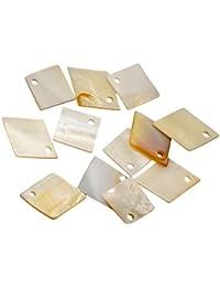 Segolike 12pcs MOTHER OF PEARL Charm Beads Square Diamond Shapes For Pendant Earring Bracelet Making