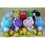 Super Mario Brothers Set Of 9 Yoshi Plush 6 Inch Dolls Featuring Green Yoshi, Red Yoshi, White Yoshi, Purple Yoshi...