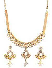 Bling N Beads Gold Non-Precious Metal Choker Jewellery Set For Women (gns7129)