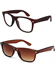 Sheomy Unisex Combo Pack Of Transparent Brown Wayfarer Sunglasses And Brown Wayfarer Sunglasses For Men And Women...