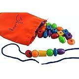 30 Jumbo Lacing Beads With String & Tote - Montessori Preschool Toys Fine Motor Skills Autism OT