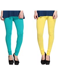 Leggings Free Size Cotton Lycra Churidar Leggings - Pack Of 2 Of Light Blue & Yellow Colour By SMEXY