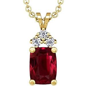 14K Yellow Gold Cushion Cut Ruby And Round Diamond Pendant