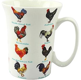 Chicken Lovers Multi Chicken Design Fluted Fine China Mug in a Gift Box