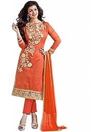 Aryan Fashion Designer Orange & Cream Chanderi Cotton Embroidered Semi-Stitched Straight Suit For Women & Girls...