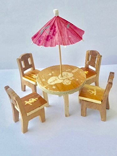 Trinkets & More Cute Wooden Miniature Dinning Table Furniture Doll House Mini Dining Room Table Chairs Umbrella Set Role Play Toy For Kids 3+ Years