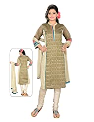 Ritu Creation Women's New Silk Self Print Stitched Chudidar Suit With Embroided Work(Beige) - B018ED1WV0